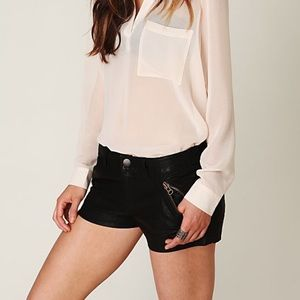 Black Vegan Leather Free People Rocker Shorts